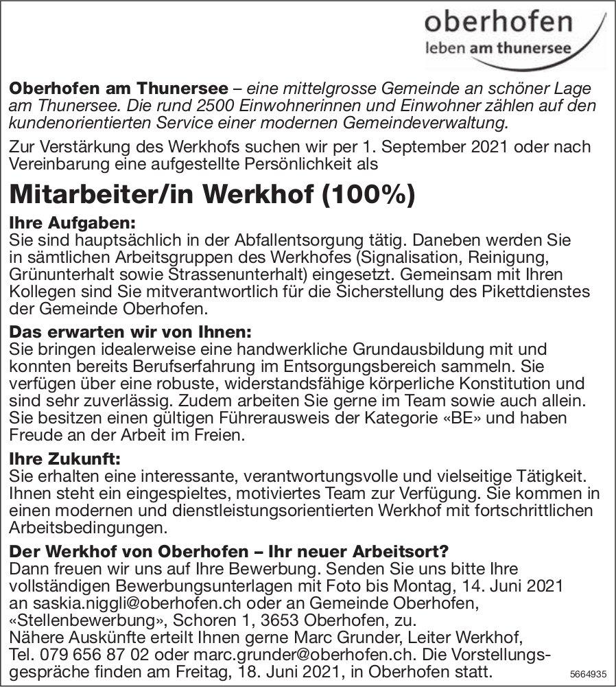 Mitarbeiter/in Werkhof (100%), Gemeinde Oberhofen, gesucht