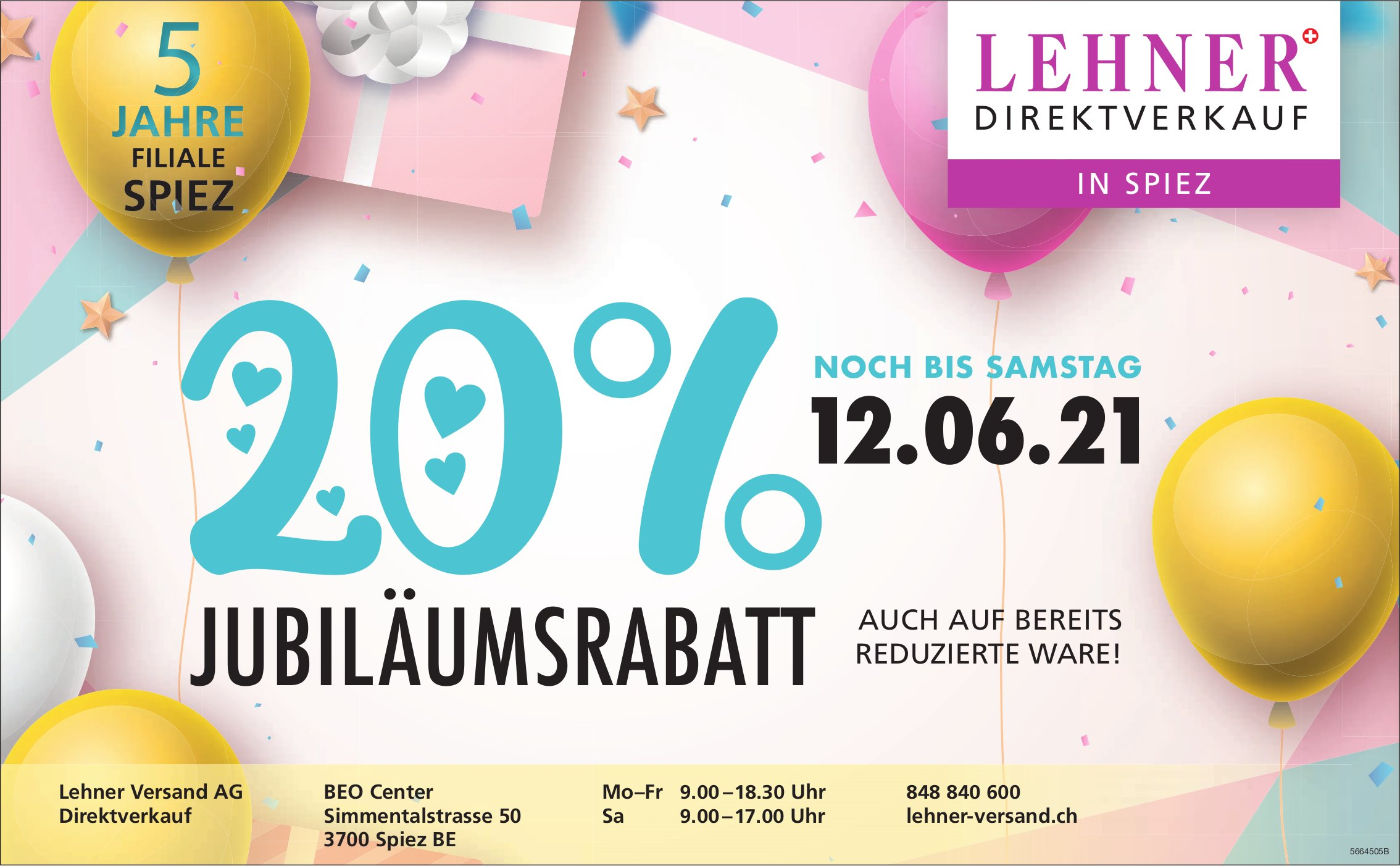 Lehner Versand AG, Spiez BE - 20% Jubiläumsrabatt bis 12. Juni