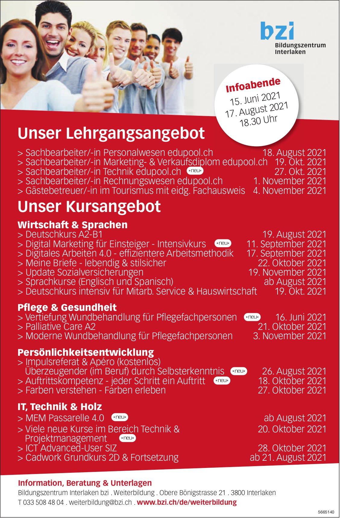Bzi, Interlaken - Unser Lehrgangsangebot
