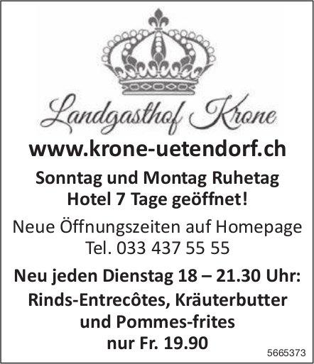 Landgasthof Krone, Uetendorf - Neu jeden Dienstag: Rinds-Entrecôtes, Kräuterbutter und Pommes-frites nur Fr. 19.90