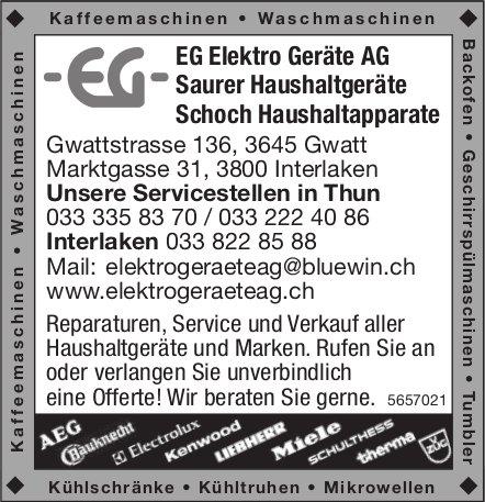 EG Elektro Geräte AG, Gwatt - Unsere Servicestellen in Thun und Interlaken
