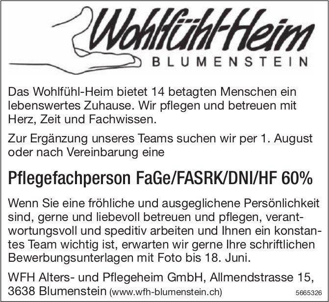 Pflegefachperson FaGe/FASRK/DNI/HF 60%, WFH Alters- Pflegeheim GmbH, Blumenstein, gesucht