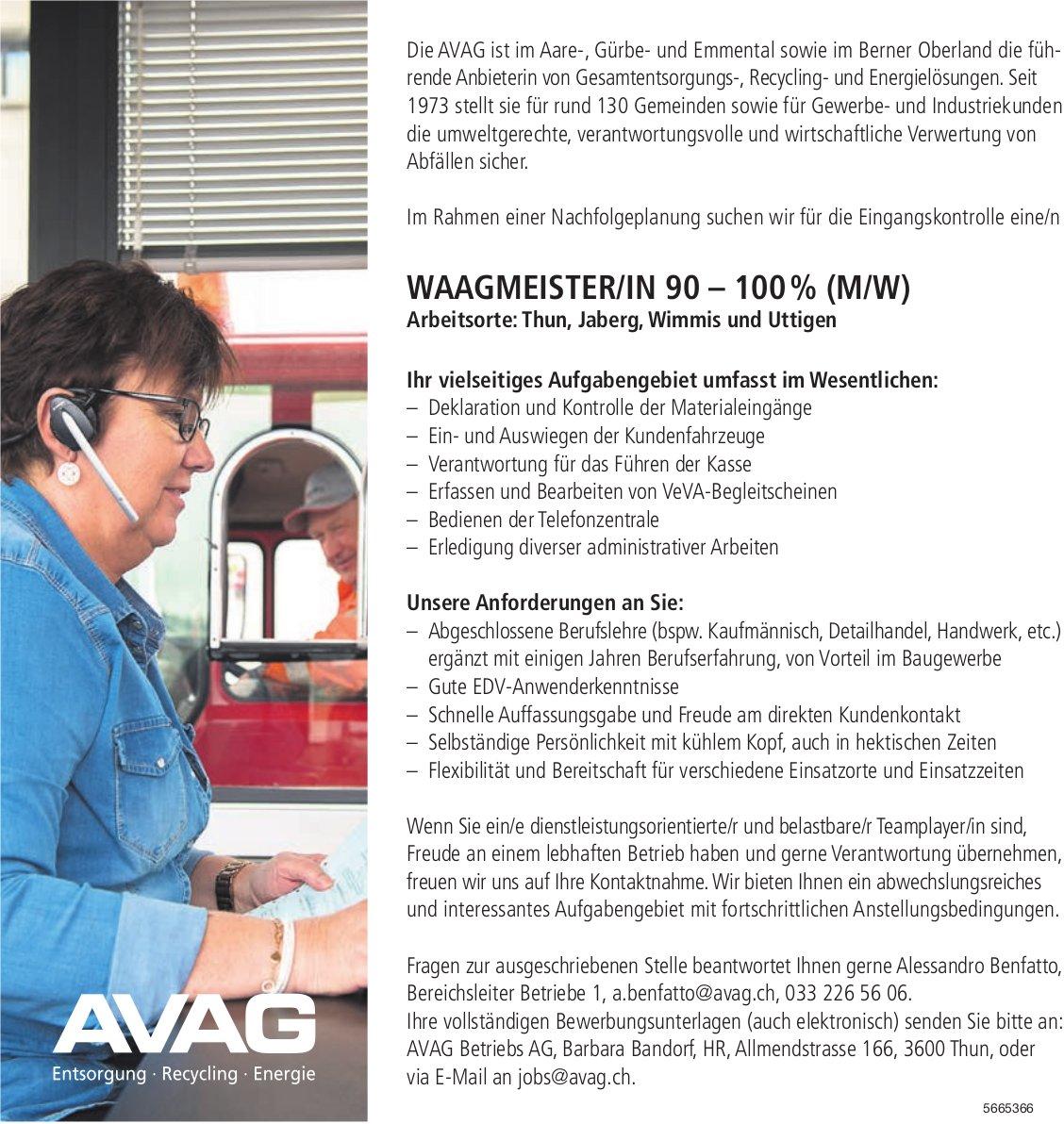 Waagmeister/In 90–100%(m/w) Thun, Jaberg,  Wimmis und Uttigen, AVAG Betriebs AG, Thun,  gesucht