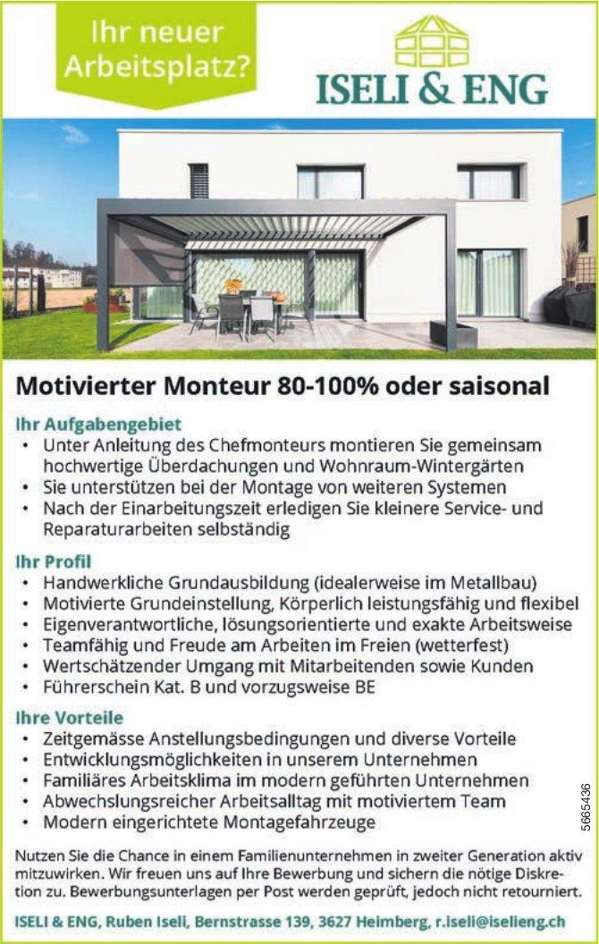 Motivierter Monteur 80-100% oder saisonal, Iseli & Eng, Heimberg, gesucht