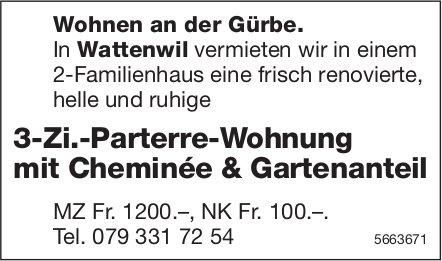 3-Zi.-Parterre-Wohnung mit Cheminée & Gartenanteil, Wattenwil, zu vermieten