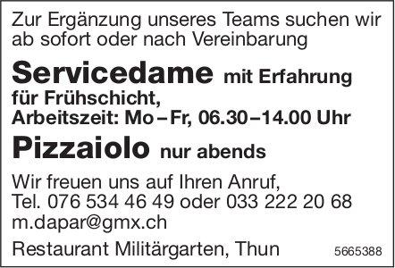 Servicedame mit Erfahrung für Frühschicht sowie Pizzaiolo nur abends, Restaurant Militärgarten, Thun, gesucht