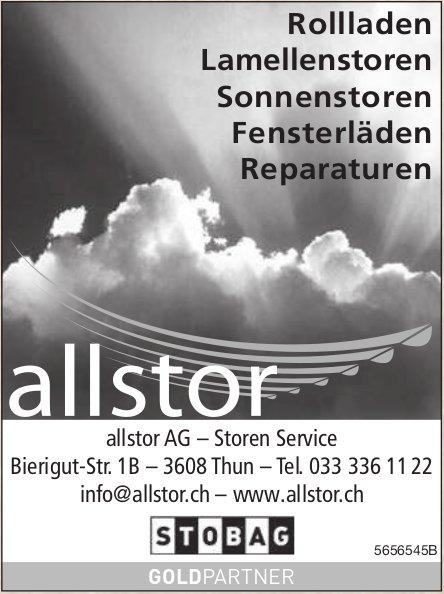 Allstor Ag – Storen Service, Thun - Rollladen, Lamellenstoren,  Sonnenstoren,  Fensterläden,  Reparaturen