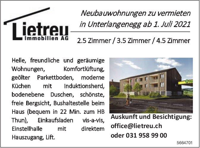 Neubauwohnungen, 2.5 Zimmer/3.5 Zimmer/4.5 Zimmer, Unterlangenegg, zu vermieten