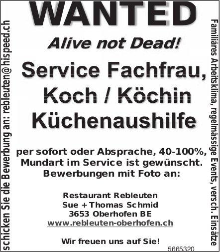 Service Fachfrau, Koch/Köchin,  Küchenaushilfe, Rebleuten Oberhofen, gesucht
