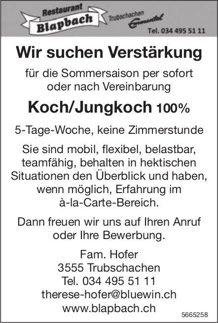 Koch/Jungkoch 100%, Restaurant Blapbach, Trubschachen, gesucht