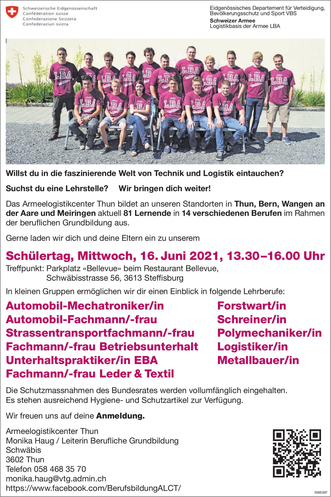 Schülertag, 16. Juni 2021, Armeelogistikcenter Thun, Steffisburg