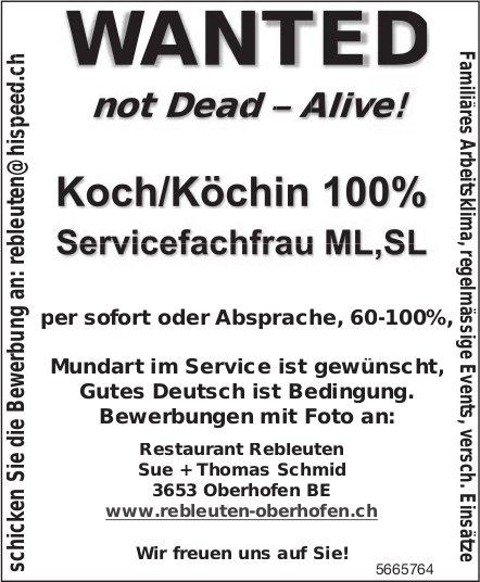 Koch/Köchin 100% & Servicefachfrau ML, SL, Restaurant Rebleuten, Oberhofen, gesucht