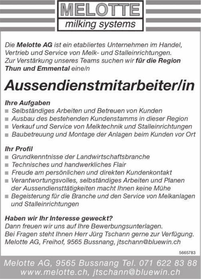 Aussendienstmitarbeiter/in, Melotte AG, Bussnang, gesucht