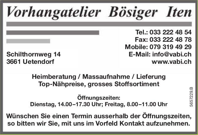Vorhangatelier Bösiger Iten, Uetendorf - Heimberatung / Massaufnahme / Lieferung...