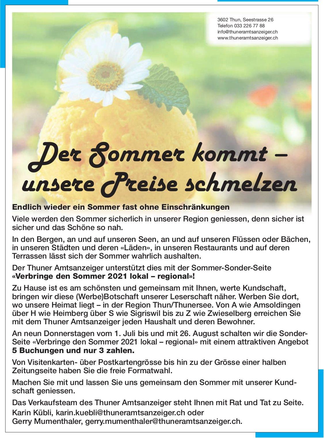 Thuner Amtsanzeiger - Der Sommer kommt – unsere Preise schmelzen