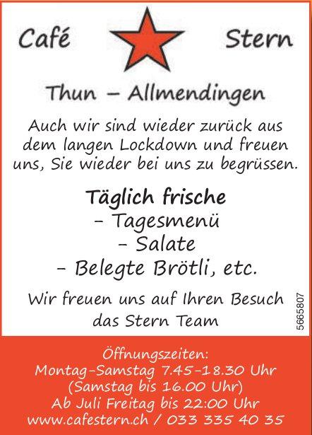 Cafe Stern, Thun-Allmendingen - Täglich frische Tagesmenü, Salate,  Belegte Brötli,  etc.