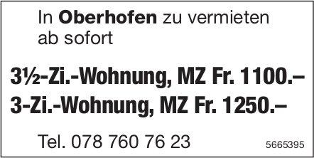 3½-Zi.-Wohnung & 3-Zi.-Wohnung, Oberhofen, zu vermieten