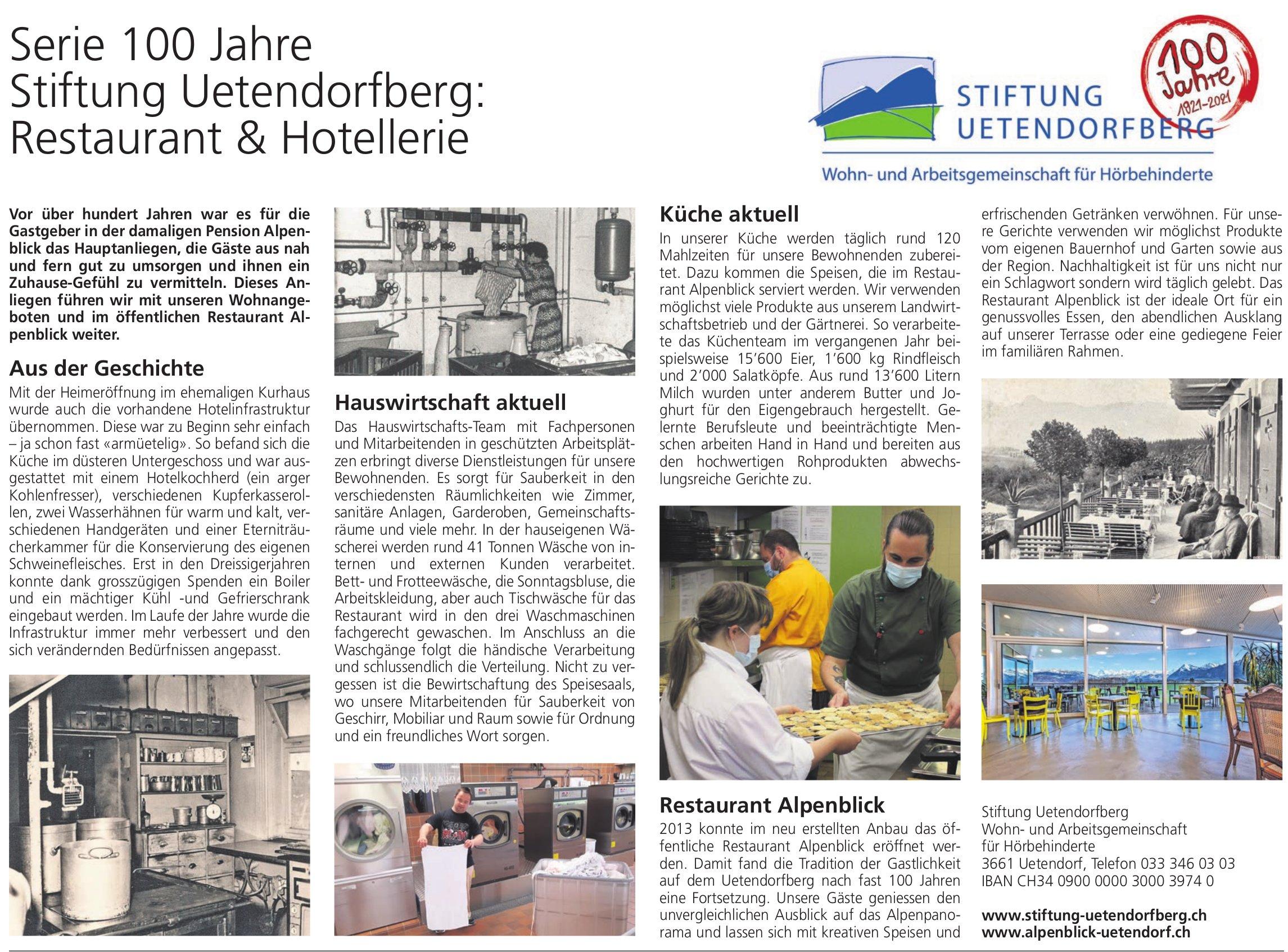 Serie 100 Jahre Stiftung Uetendorfberg: Restaurant & Hotellerie