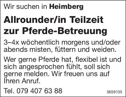Allrounder/in Teilzeit zur Pferde-Betreuung, Heimberg, gesucht