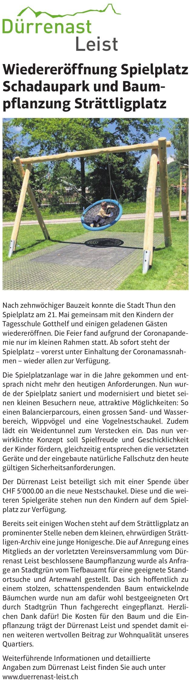 Wiedereröffnung Spielplatz Schadaupark und Baumpflanzung Strättligplatz, Dürrenast Leist, Thun