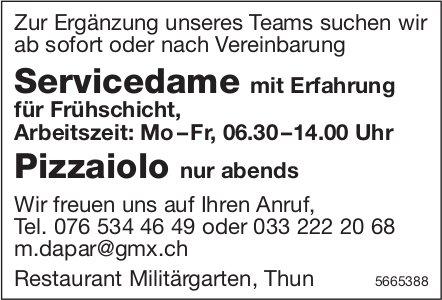 Servicedame mit Erfahrung & Pizzaiolo, Restaurant Militärgarten, Thun, gesucht