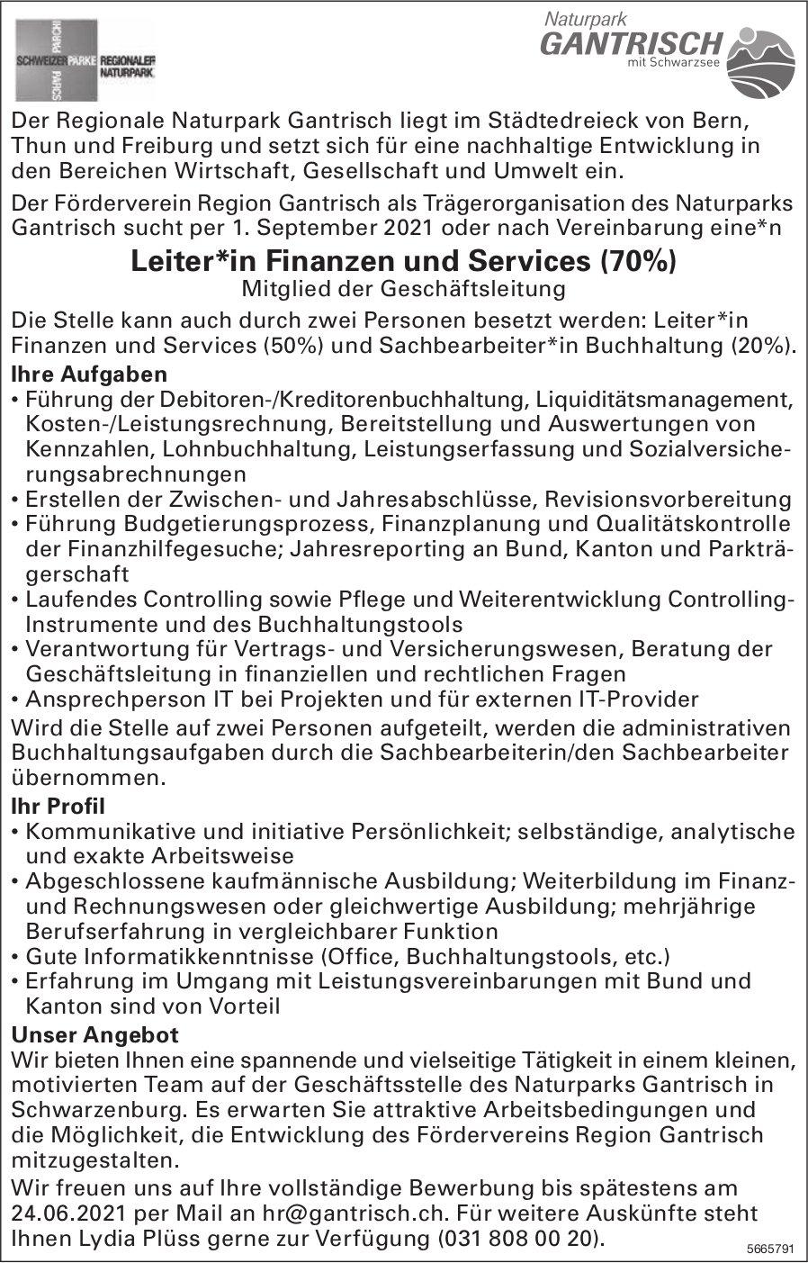 Leiter*in Finanzen und Services (70%), Naturpark Gantrisch, Schwarzenburg, gesucht