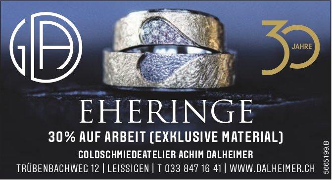 Goldschmiedeatelier Achim Dalheimer, Leissigen - Eheringe 30% auf Arbeit (exklusive Material)