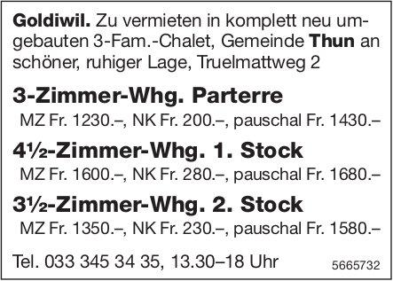 3- bis 4.5-Zimmer-Wohnungen, Goldiwil, zu vermieten