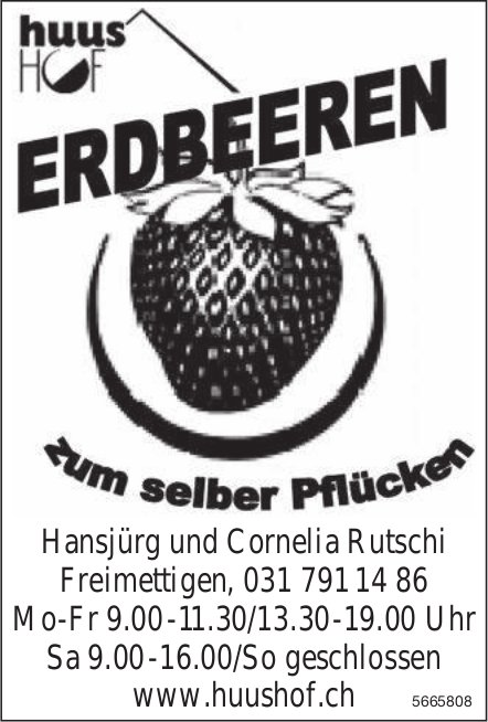 Huus Hof, Freimettigen - Erdbeeren zum selber Pflücken
