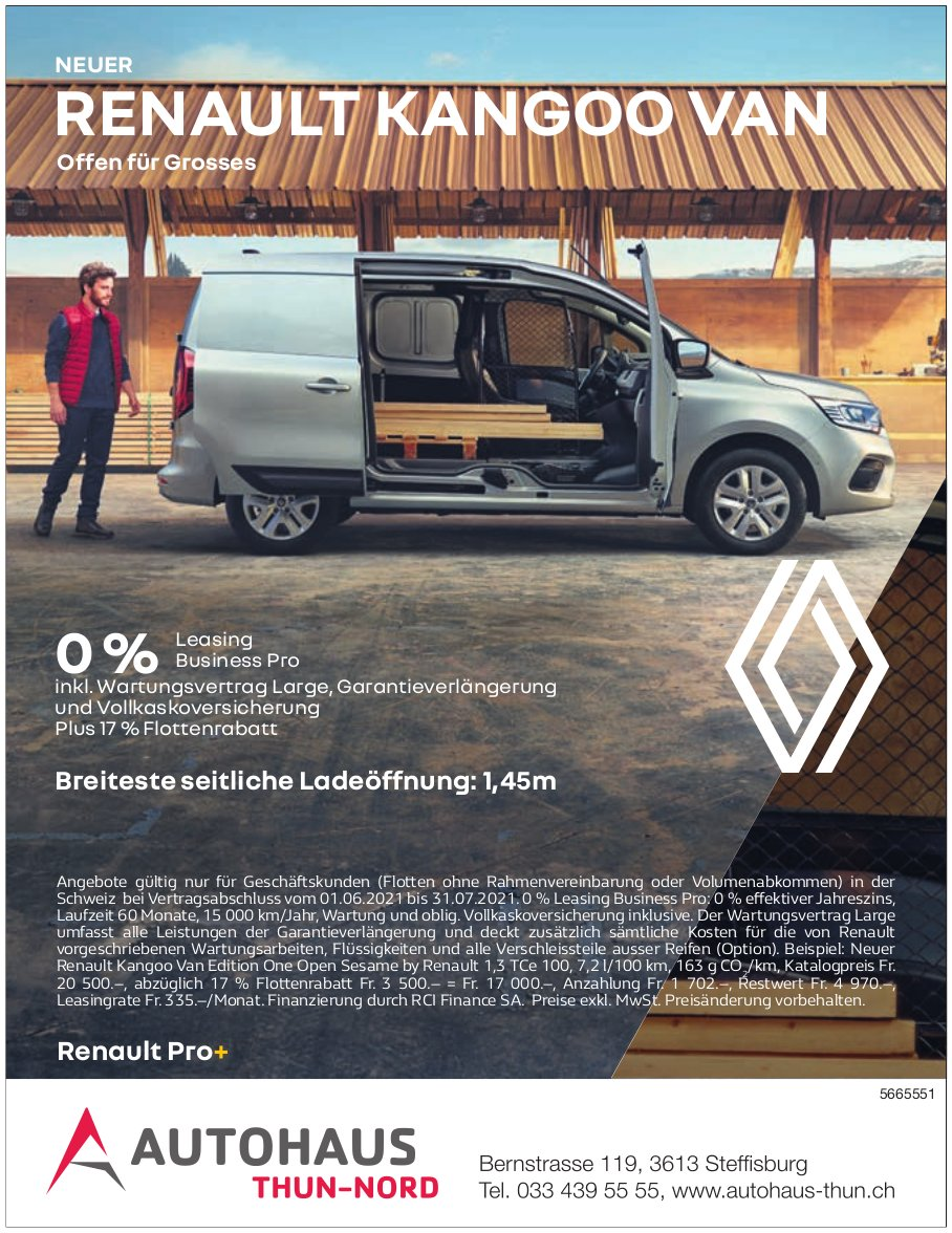 Autohaus Thun-Nord, Steffisburg - Neuer Renault Kangoo Van: Offen für Grosses