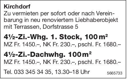 4.5-Zi.-Wohnungen , Kirchdorf,  zu vermieten