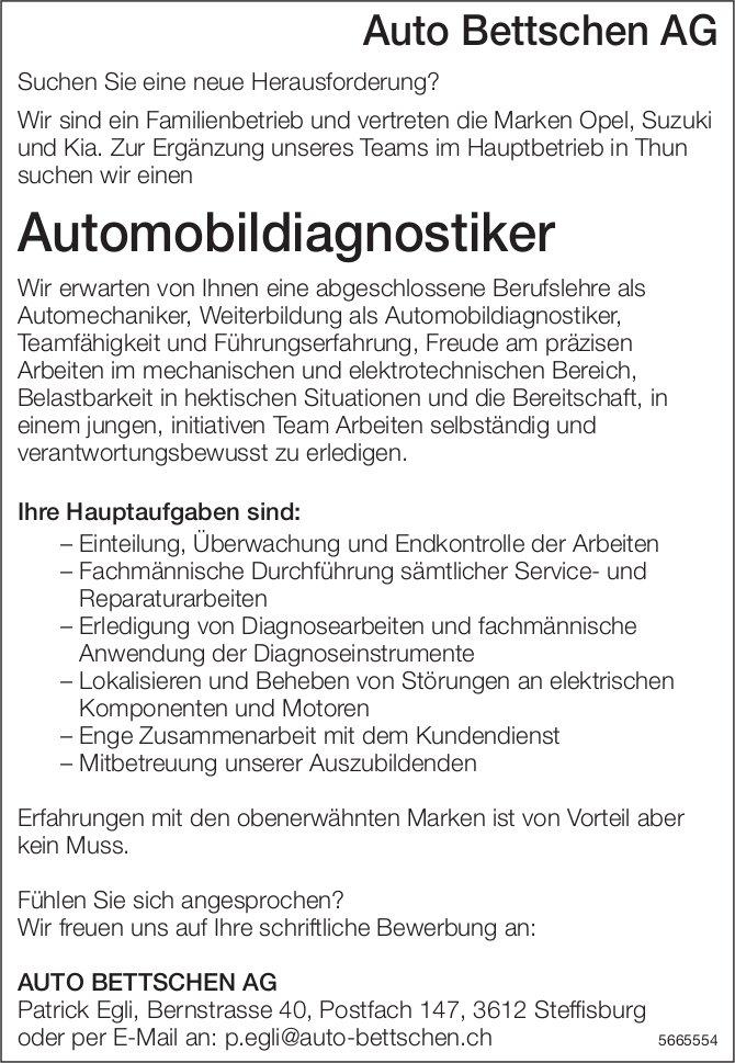 Automobildiagnostiker, Auto Bettschen AG, Steffisburg, gesucht