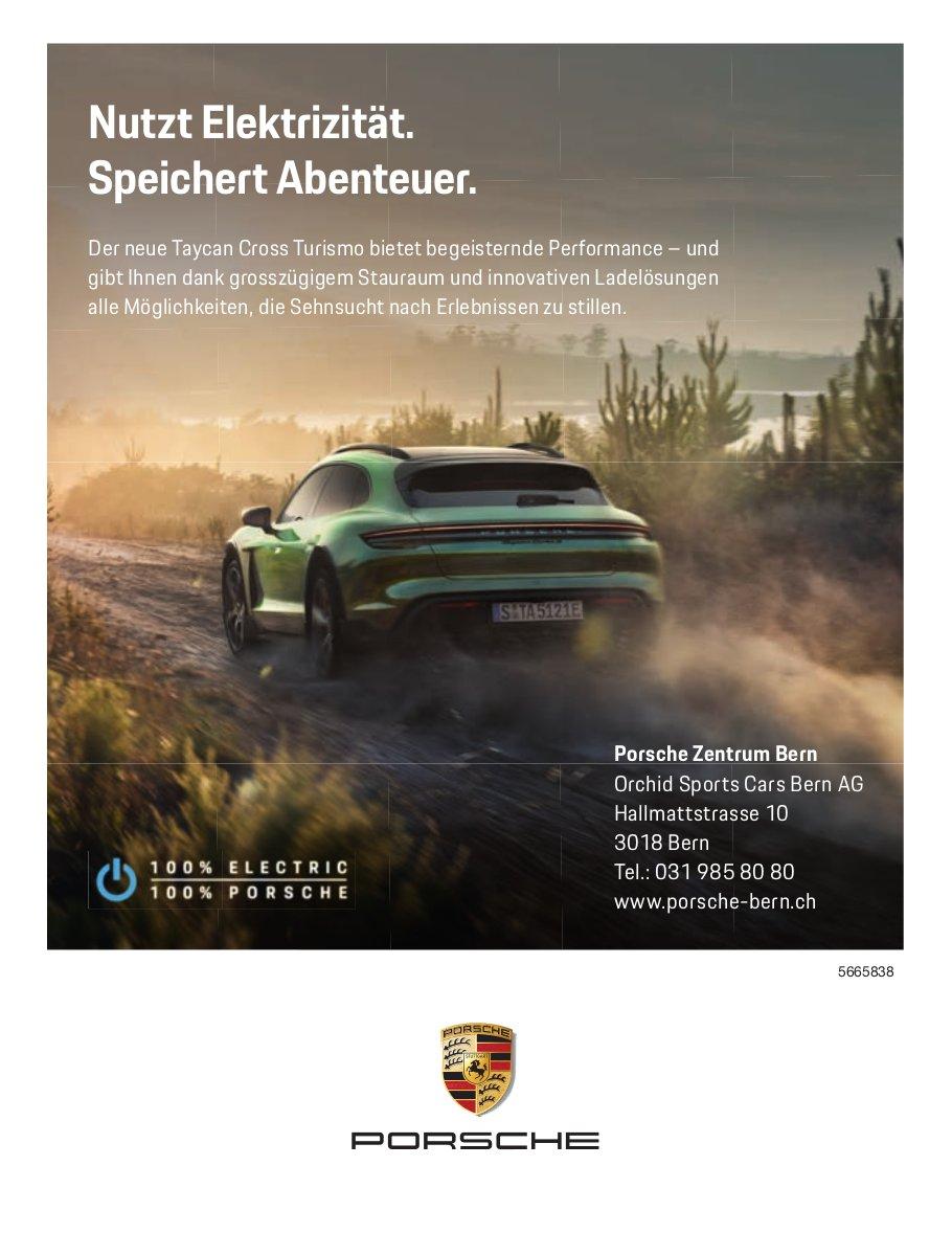 Orchid Sports Cars Bern AG - Der neue Taycan Cross Turismo: Nutzt Elektrizität. Speichert Abenteuer.