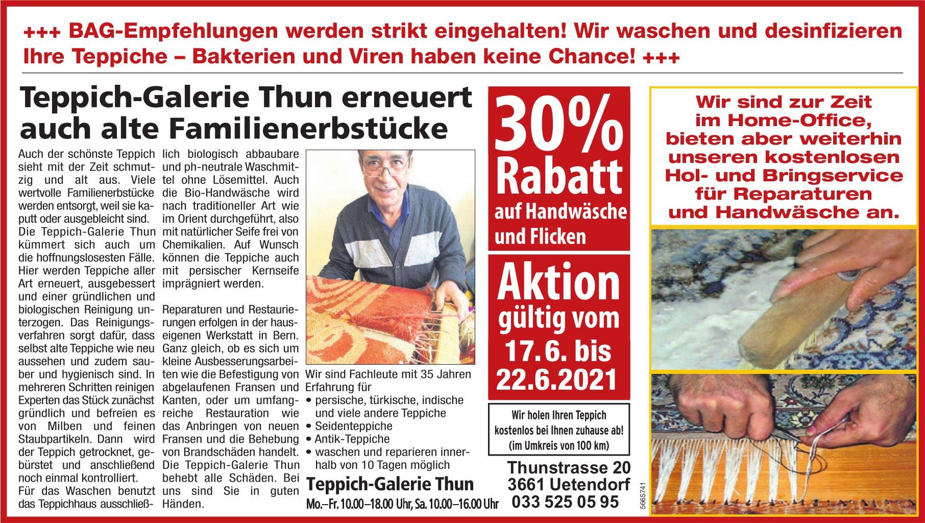 Teppich-Galerie Thun - 30% Rabatt auf Handwäsche und Flicken vom 17. bis 22. Juni