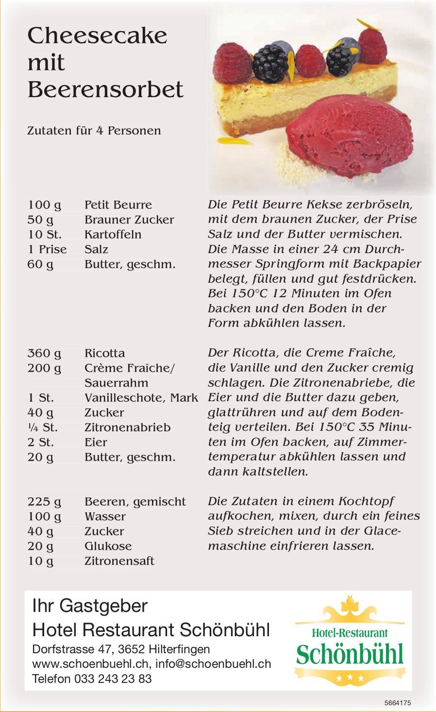 Hotel Restaurant Schönbühl, Hilterfingen - Cheesecake mit Beerensorbet
