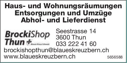 Brocki Shop, Thun - Haus- und Wohnungsräumungen, Entsorgungen und Umzüge, Abhol- und Lieferdienst