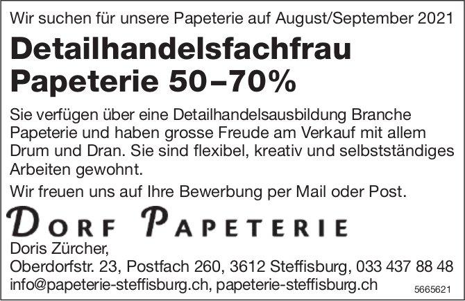 Detailhandelsfachfrau Papeterie 50–70%, Dorf Papeterie, Steffisburg, gesucht