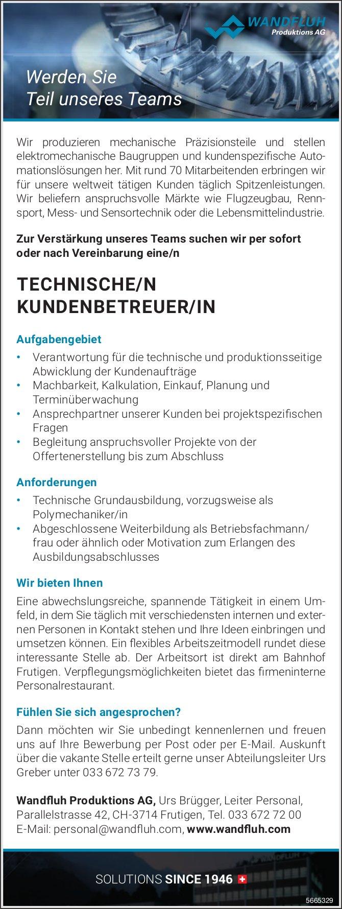 Technische/r Kundenbetreuer/in, Wandfluh Produktions AG, Frutigen, gesucht