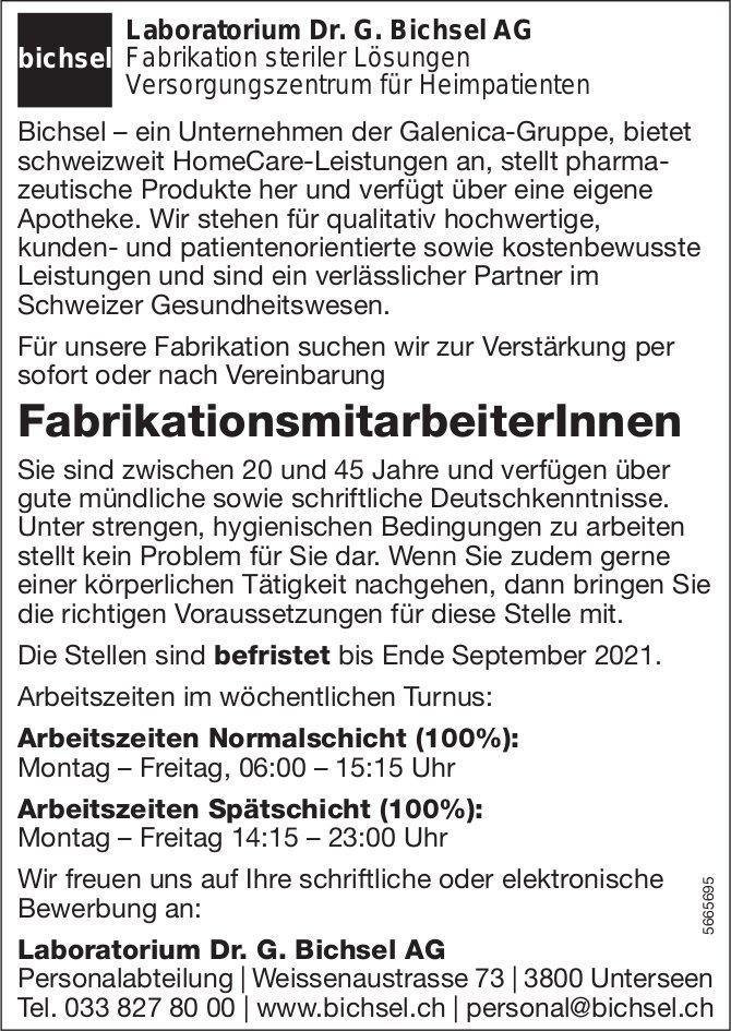 FabrikationsmitarbeiterInnen, Laboratorium Dr. G. Bichsel AG, Unterseen, gesucht