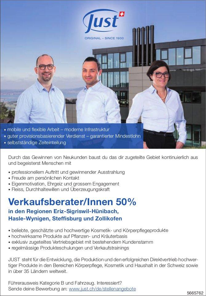 Verkaufsberater/Innen 50%, Just, Regionen Eriz-Sigriswil-Hünibach, Hasle-Wynigen, Steffisburg & Zollikofen, gesucht