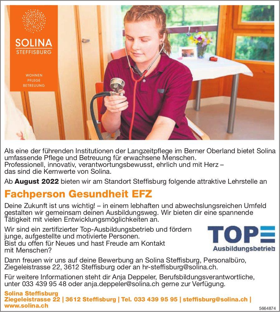 Lehrstelle Fachperson Gesundheit EFZ, Solina, Steffisburg, zu vergeben