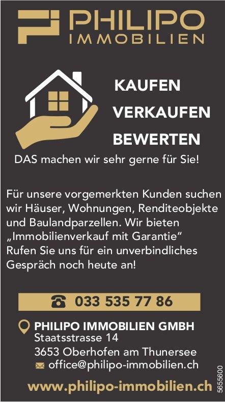 Philipo Immobilien GmbH - Für unsere vorgemerkten Kunden suchen wir Häuser, Wohnungen,  Renditeobjekte und Baulandparzellen