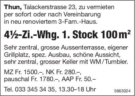 4½-Zi.-Whg. 1. Stock 100 m2, Thun, zu vermieten