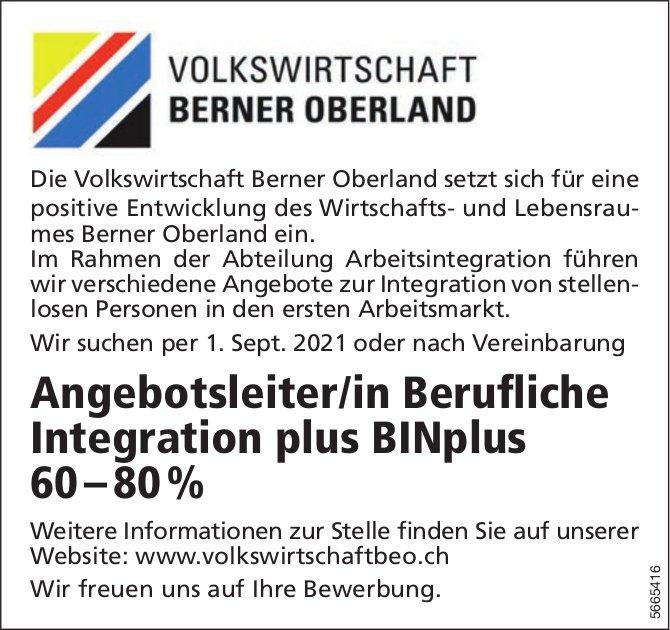 Angebotsleiter/in Berufliche Integration plus BINplus 60 – 80 %, Volkswirtschaft Berner Oberland, gesucht