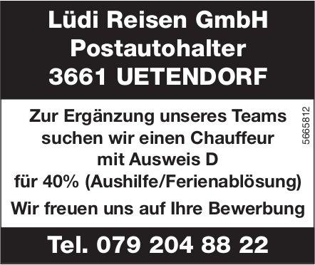 Chauffeur mit Ausweis D, 40%, Lüdi Reisen GmbH, Uetendorf, gesucht