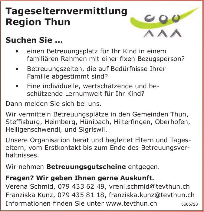 Tageselternvermittlung Region Thun - Suchen Sie...