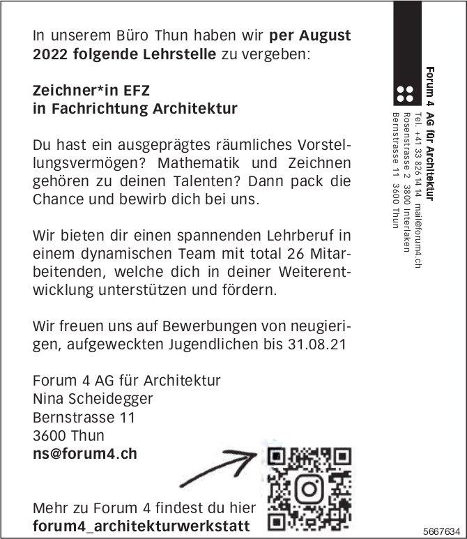Lehrstelle als Zeichner*in EFZ in Fachrichtung Architektur, Forum 4 AG für Architektur, Thun, zu vergeben