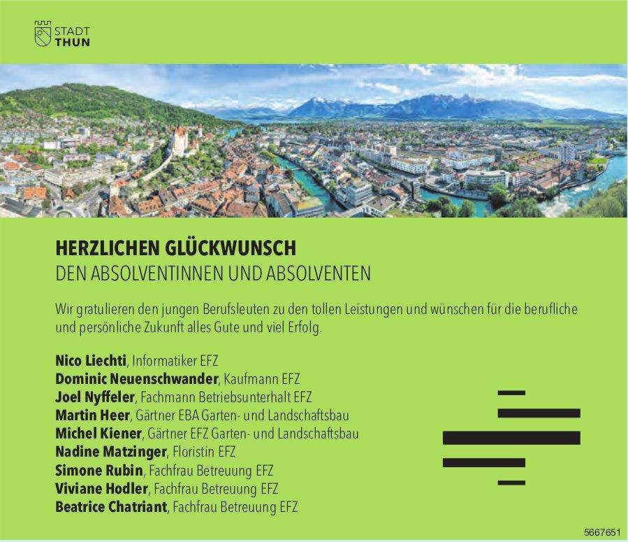 Stadt Thun - Herzlichen Glückwunsch den Absolventinnen und Absolventen
