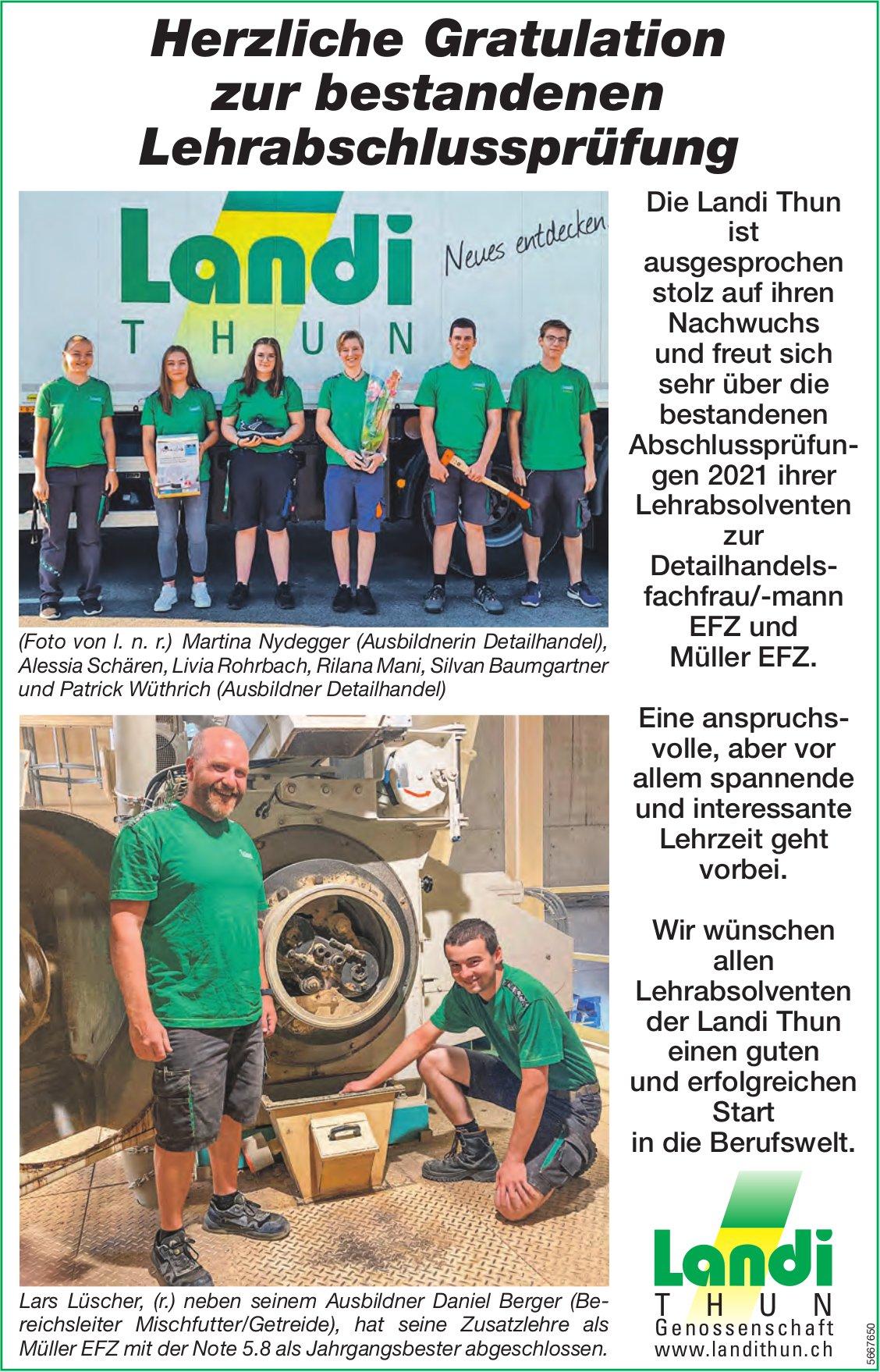 Landi Thun Genossenschaft - Herzliche Gratulation zur bestandenen Lehrabschlussprüfung
