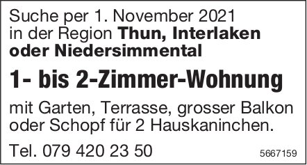1- bis 2-Zimmer-Wohnung, in der Region Thun, Interlaken oder Niedersimmental,  zu mieten gesucht